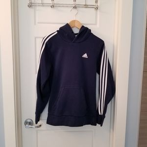 Adidas hoodie 3 stripes navy blue and white